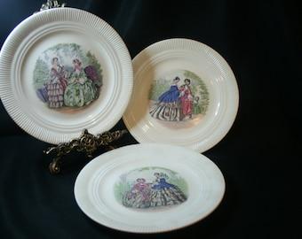 Set of 7 Godey Victorian Fashion Dinner Plates