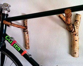 Wood Bike Rack Branch Bike Shelf | Holiday Gift Apartment Therapy | Fathers Day | Wall Rack | Bike Hanger