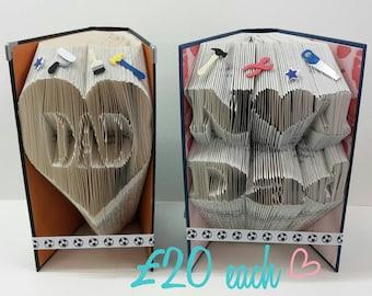 Handmade 'Dad' or 'No1 Dad' Folded Book Art
