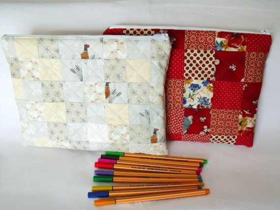 pencil case, cosmetic bag, crochet hook bag, zipped pouch, make up holder, toiletry bag, quilted tablet sleeve, red or gray fabric