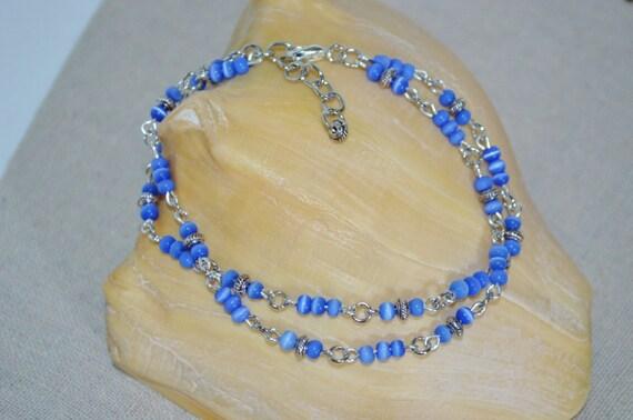 Ankle Bracelet Blue Bead, Glass Tigers Eye Anklet, Silver & Blue Glass Bead Anklet, 2 Strand Blue Bead Anklet
