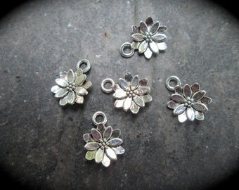 Poinsettia Flower charms package of 5 double sided three dimensional puffed flower charms perfect for adjustable bangle bracelets Christmas