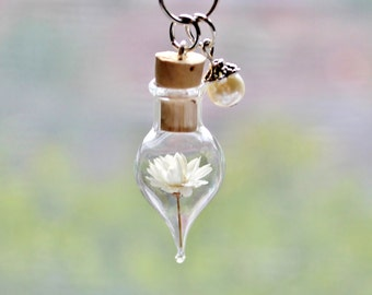 Pearl Terrarium Necklace Ivory Flower  Unique Birthday Gift Bridesmaid Necklace June Birthstone Glass Pearl Floral Jewelry Bottle Necklace