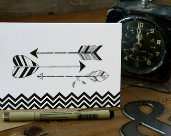 Arrows, Just Because, blank, chevron card, for all occations - LUX, Kraft Envelope