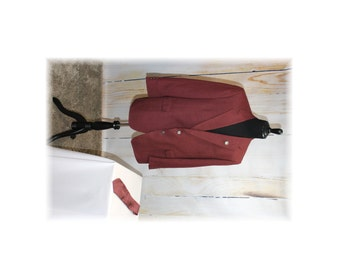 News Anchorman Costume with Accessories / 1970's BURGUNDY Sportcoat-50R (H15)