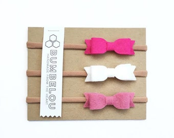 3 mini bow headbands - One Size Fits All Nylon - Magenta, White, Rose