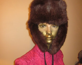 Vintage Russian Winter Fur Hat - made in Russia