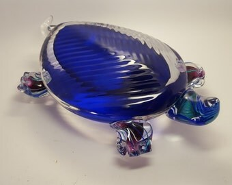 Large Applied Art Glass Colorful Turtle
