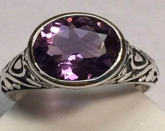 Genuine 2ct Pink Amethyst 925 Solid Sterling Silver Filigree Art Deco Ring sz 7