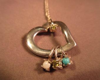 Lenox Sterling Silver Multi Gemstone Heart Necklace