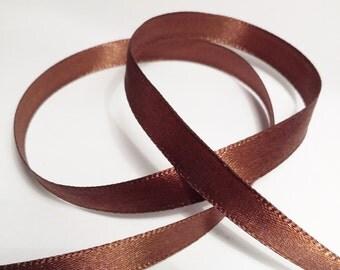 CLEARANCE 2 Rolls Brown Ribbon - Terylene Satin Ribbon - 22.5 metres - Craft Ribbon - 9mm width - Wedding Ribbon