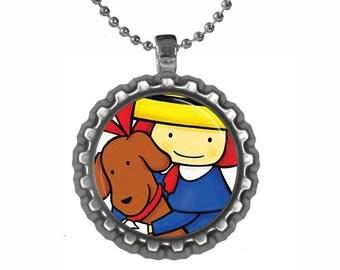 Madeline Bottlecap Pendant Necklace or Keychain