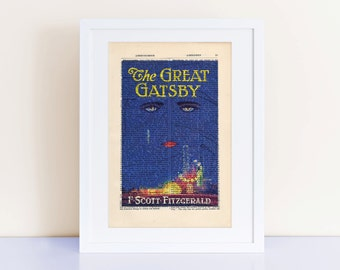 The Great Gatsby by F Scott Fitzgerald Print on an antique page, book cover art
