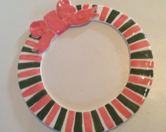 Large Striped Pottery Holiday Wreath
