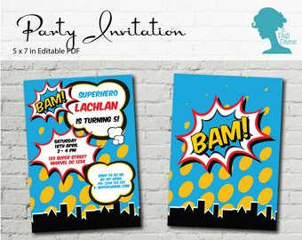 Digital Party Printable: Editable Superhero Party Invitation 5x7in DIY Personalize INSTANT DOWNLOAD