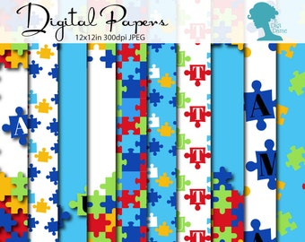Autism Digital Scrapbooking Paper Pack, Proceeds to Charity. Instant Download