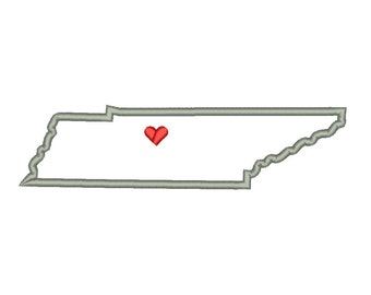 Tennessee State Outline Appliqué Designs Machine Applique Embroidery Designs US State Heart 9 Size - INSTANT DOWNLOAD