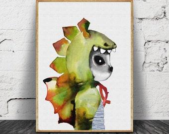 Mr dragon, illustration, children, nursery art, kids room, watercolour, cute artwork, children prints.