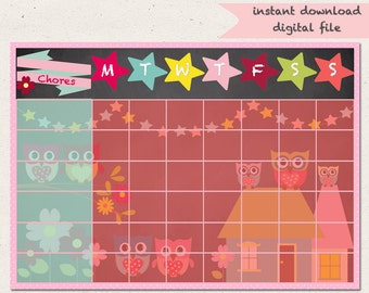 Owl Chore Chart-Owl-Reward Chart-Girls-Jobs-Routine Chart-PRINTABLE-A4-Behaviour Chart