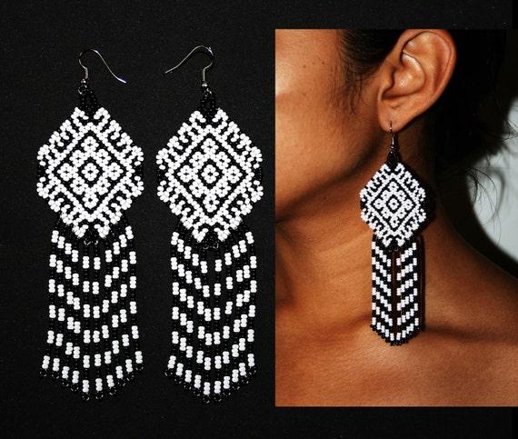Huichol Tribal Earrings, Aztec Pattern Earrings, Beaded Huichol Earrings, Black and White Beaded Earrings, Native Mexican Earrings