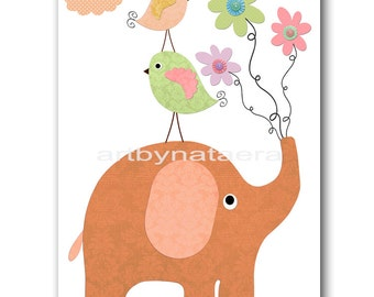 Elephant Wall Decor Elephant Wall Art Digital Download Art Nursery Prints Playroom Art Baby Girl Nursery Art Instant Download Art 8X10 11X14