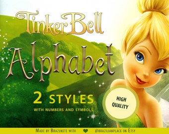 SALE Tinker Bell Disney Fairies Font Alphabet Numbers and Symbols Clipart png Transparent High Resolution 300dpi Original Styled Typography