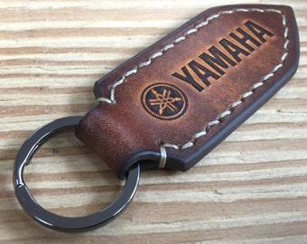 Yamaha motorcycle leather keychain.