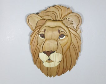Lion Wallhanging Intarsia Wood Intarsia Sculpture Mosiac Wallhanging Wildlife