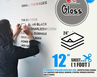 "5 Sheets 24"" x 12""Glossy Self Adhesive Sign Wall Craft Vinyl for Cricut, Cameo 43 colors"