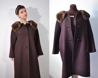 Vintage 60s Fur Coat 60s Fur Collared Coat Mod Coat Mink Fur Coat Mink Fur Jacket Mink Fur Collared Coat 60s Fur Jacket 60s Winter Coat