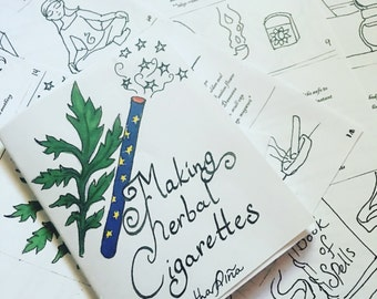 Making herbal cigarettes zine