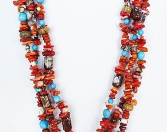 Navajo Turquoise Spiny Oyster Beaded Necklace Bernice Begay Free Shipping Made in the USA