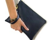 large clutch bag – navy blue – wristlet bag – faux leather