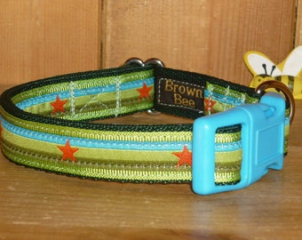 9.5 - 15 ins Small Dog Collar - Lime Green Blue Stars