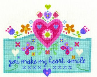 DMC BK1658 You make my Heart Smile Cross Stitch Kit designed by Jayne Schofield From the Say it with cross stitch collection.