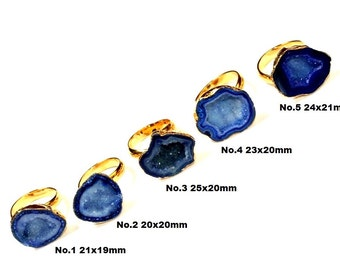 24k Gold Electroplated Blue Druzy Agate Slice Adjustable Ring / Free Form Druzy Ring / Druzy Jewelry DRE11