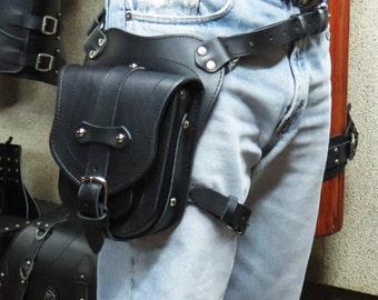 Waist Bag, Leather Waist Bag, belt bag, Black, belly bag, hip pack, bike bag, Waist Bag for Bikers,bumbag, Buffalo pouch,Travel Belt,for man