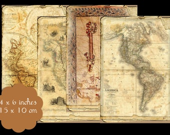 12 Vintage Map Background Tags