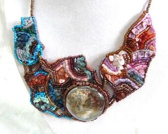 Beadwork bib 3 necklace