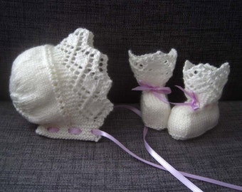 Maisie Bonnet & Booties Set - Knitting Pattern Baby DK, 4-ply Instant Download PDF