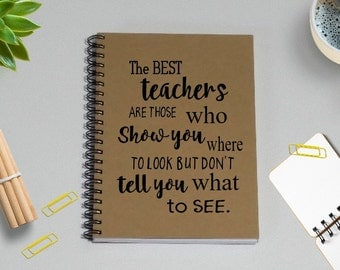 Best Teacher's Gift Writing Journal, The best teachers show you where to look but not what to see, Notebook-5 x 7 Journal, Gift for Teacher