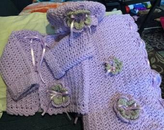 Handmade Crochet Baby Blanket, Sweater, and Hat Set