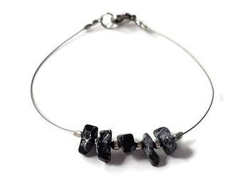 Obsidian jewelry, silver wire jewelry, gemstone bracelet, wire bracelet, modern fashion jewelry, obsidian bracelet, gemstone jewelry shiny