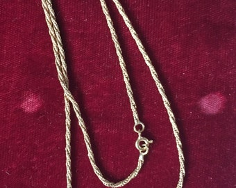 Vintage 14k gold twisted cable rope necklace 18""