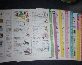 Ephemera 12 child dictionary pages  - vintage french school book