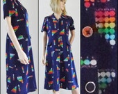 60s navy graphic pattern mod dress French retro vintage stretch fitted dress size medium