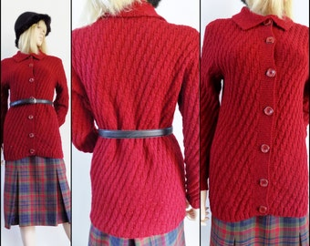 Womans dark red long cardigan hand knitted French long red cardigan sweater size S/M