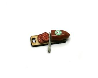 Italian Single Salami On Board With Knife Dolls House Miniature