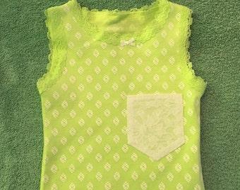 Onesie- Green & White Lace w/Pocket