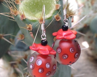 Spotted Red and Black Earrings